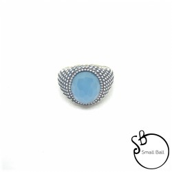 Anello Small Ball Agata Blu sfacettata