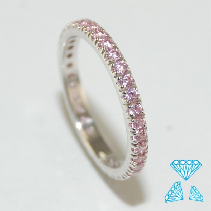 Anello tutto giro in oro bianco 750-18kt con zirconi rosa