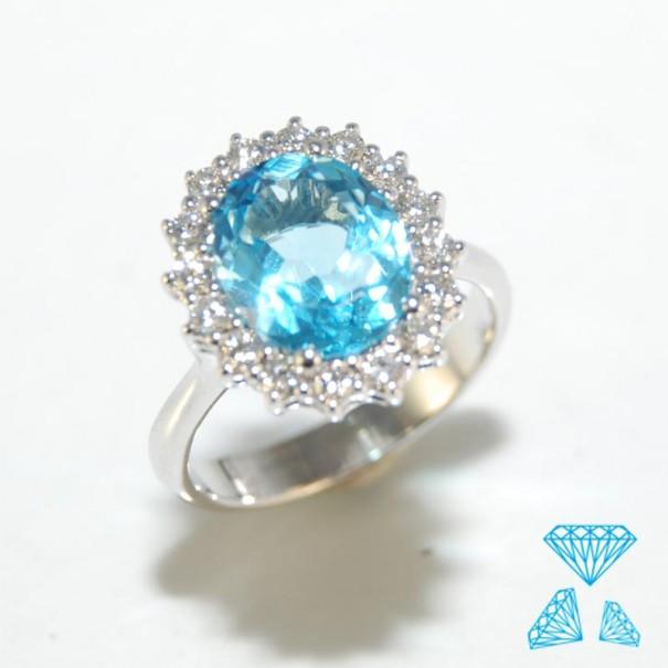Matrimonio Oro E Azzurro : Anello in oro bianco kt topazio azzurro e brillanti