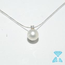 Collana in oro bianco e perla FreschWater  e brillante ct 0.03
