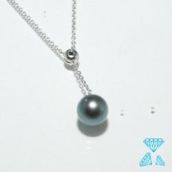 Girocollo con brillante nero e perla Tahiti