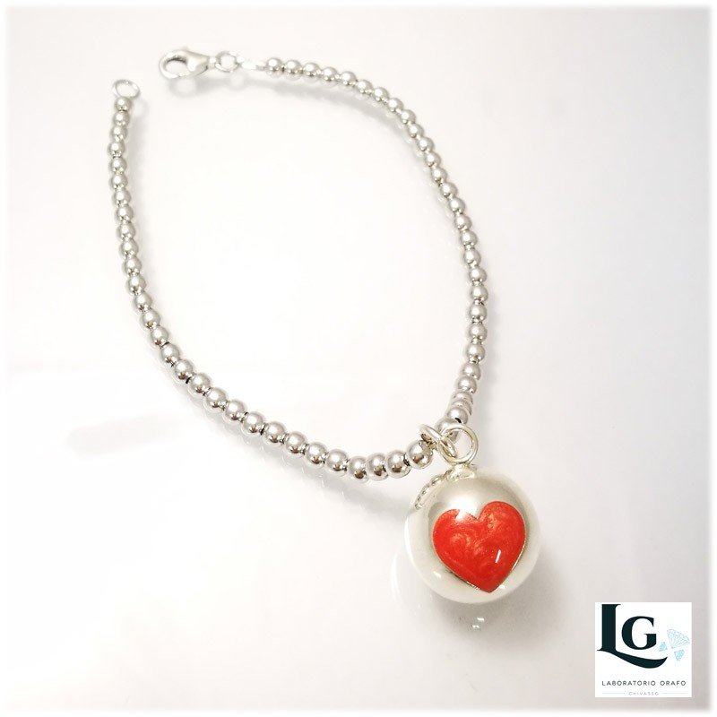 Small Ball bracciale con cuore smaltato