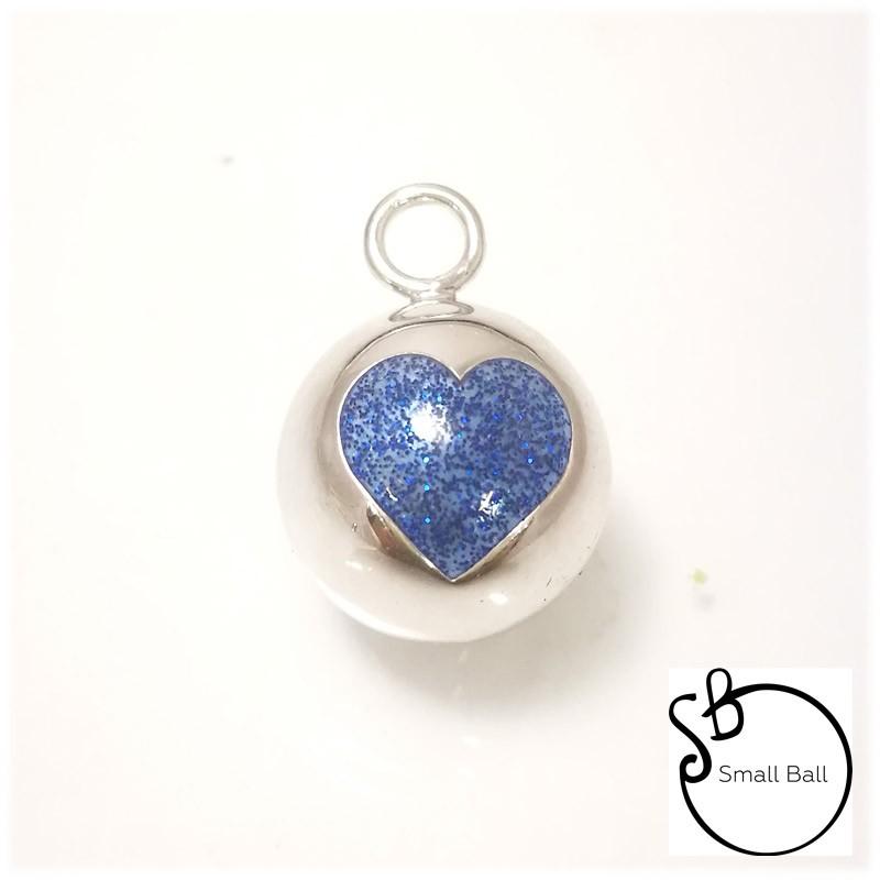 Small Ball cuore blu glitter