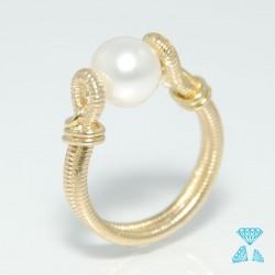 Anello oro giallo 750 (18kt) con perla 8mm