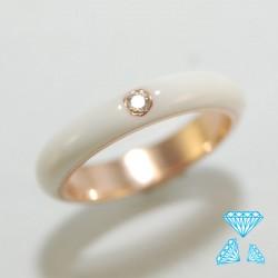 Anello in oro rosè 750-18kt e smalto bianco e brillante