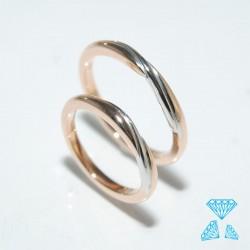 Fedi Matrimonio oro Rosè e bianco 750
