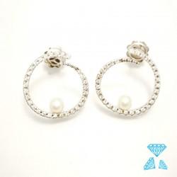 Orecchini oro bianco con zirconi e perle