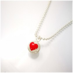 Small Ball con cuore rosso e catena lunga 90 cm